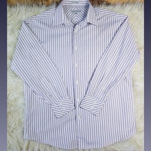 Perry Ellis Purple Striped Dress Shirt